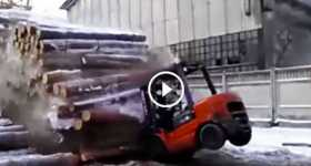 Crazy Lumber Worker Play With A Stack Of Logs 4