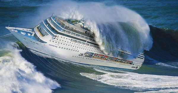 This Is HOW Ships Tackle Massive Waves Muscle Cars Zone - Giant wave hits cruise ship