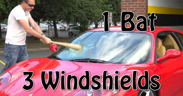 Guy Smashes His Ferrari Windshield Bat baseball 1