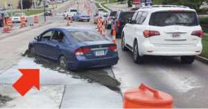 Honda Civic Fail road warning concrete 1
