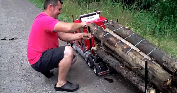 Mini Peterbilt Truck Remote Control RC wood transport 1