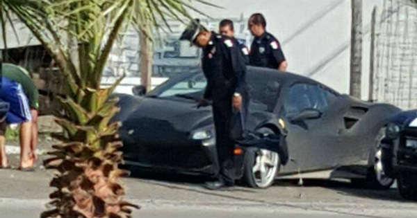 Stolen Yellow Ferrari 488 Found New Paintjob black police 3