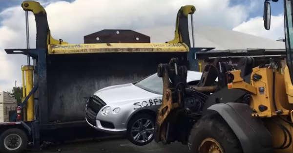 Crushing Bentley GT In A Car Compactor 2
