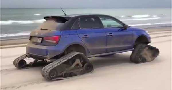 Drifts His Audi S1 With Tank Chains 2