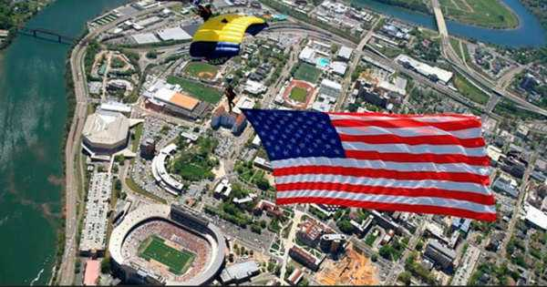 Navy Seal Insane Parachute Jump Football Stadium 1