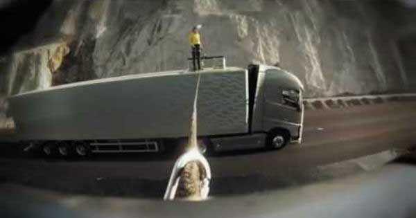 Faith Dickey Slackline Walk Between Trucks Volvo Commercial 2