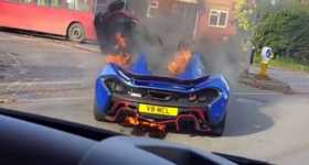 McLaren P1 Burning On The Street in UK 1
