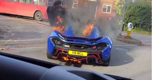 McLaren P1 Burning On The Street in UK 1