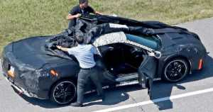 Test Drivers Trying To Cover The New 2019 Mid Engine Corvette 1