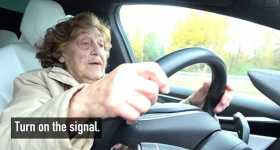 92 Years Old Woman Tackles Tesla New Technology 1