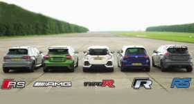 Civic Type R vs RS Focus vs Mercedes AMG vs Golf R vs Audi RS3 1
