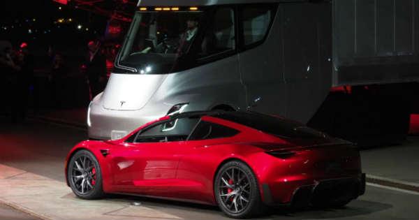 Elon Musk Unveils The Fastest Production Car Tesla Roadster Semi Truck 1