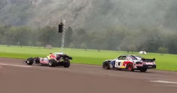 Formula 1 vs NASCAR Drag Race in Switzerland 2