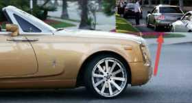 Gold Rolls Royce Causes a Subaru STI WRX to Crash 11