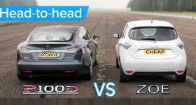 Tesla Model S P100D Vs Renault Zoe 1