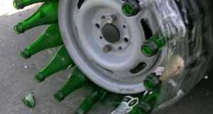 This Is What Happens When You Use Glass Bottles Instead Of Tires 1