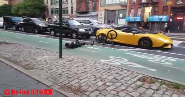 Crazy BMX Rider With No Respect Jumps On Lamborghini 2