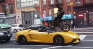 Crazy BMX Rider With No Respect Jumps On Lamborghini TWICE 1