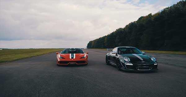 DRAG RACE FERRARI 458 SPECIALE VS Porsche 911 GT3 RS 2