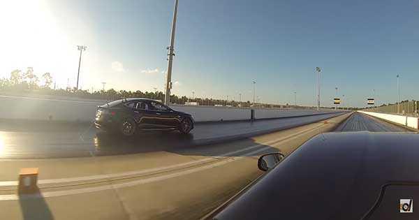 Drag Race Tesla Model S P85D vs Ferrari F12 2