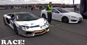 PD S1000 Model S Tesla vs Lamborghini Aventador Drag Race 1