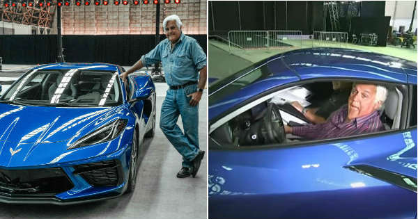 jay leno drives the new corvette c8
